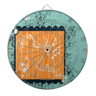Green & Orange Musical Design Dart Board