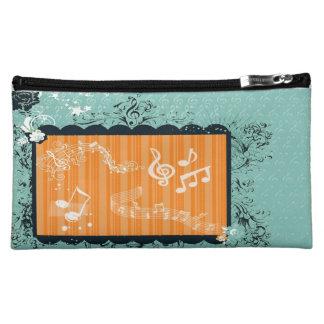Green & Orange Musical Design Medium Cosmetic Bag