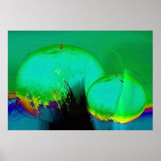 Green Orange Pear Poster