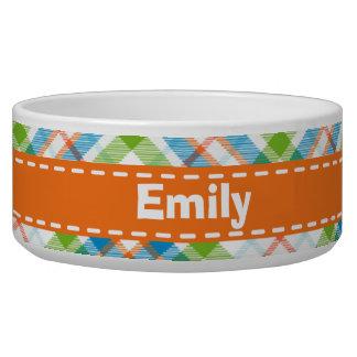Green & Orange Plaid Dog Bowls