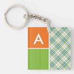 Green, Orange Plaid Square Acrylic Keychains