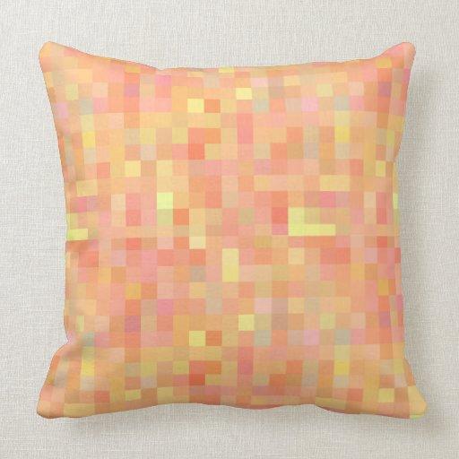 green orange red and pink pixel blocks pillow