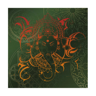 green orange red Elephant Ganesha Mandala Wood Wall Decor