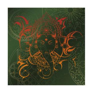 green orange red Elephant Ganesha Mandala Wood Canvas