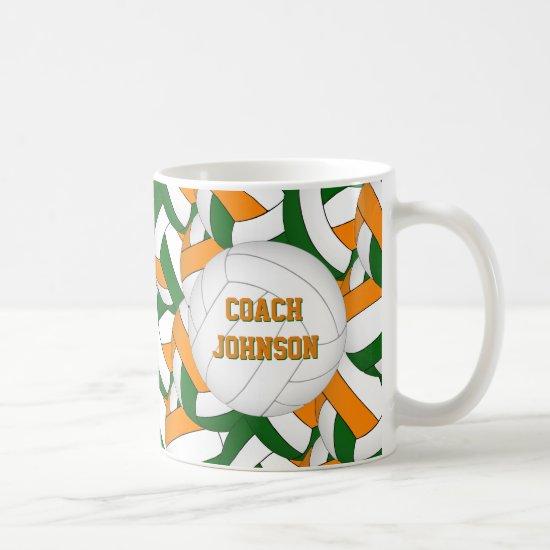 green orange school colors volleyball coach gift coffee mug