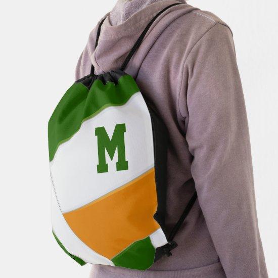 green orange school spirit boys girls volleyball drawstring bag