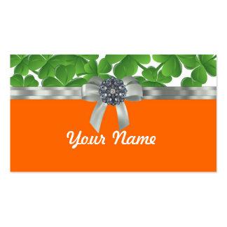 Green & orange shamrock pattern business card templates