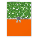 Green & orange shamrock pattern stationery note card