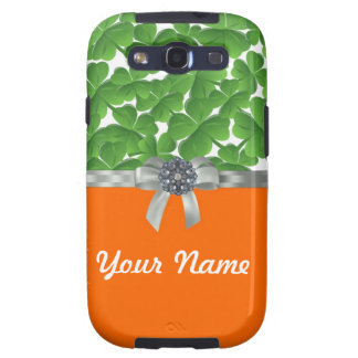 Green & orange shamrock pattern samsung galaxy SIII cases