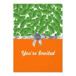 Green & orange shamrock pattern 5x7 paper invitation card