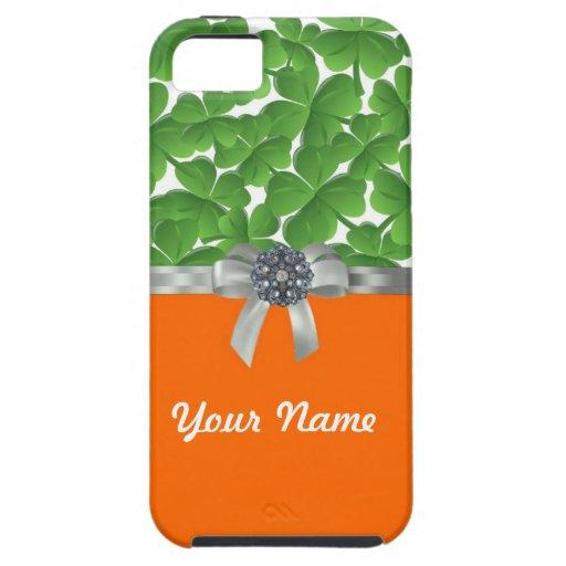 Green & orange shamrock pattern iPhone 5 cases