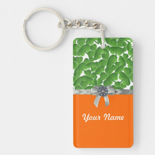 Green & orange shamrock pattern keychain