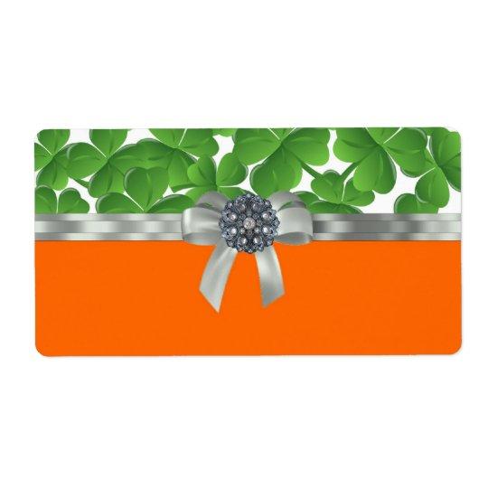 Green & orange shamrock pattern label