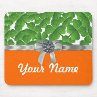 Green & orange shamrock pattern mouse pad