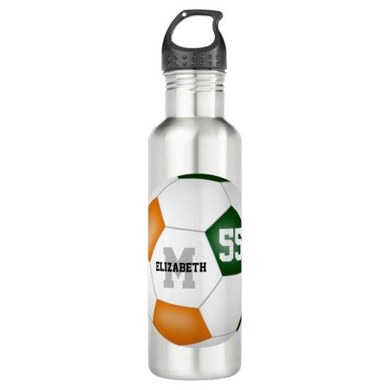 green orange soccer girl boy school team colors stainless steel water bottle