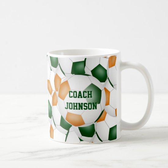 green orange soccer school team coach gift coffee mug