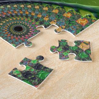 Green Orange Spirals Fine Fractal Art Puzzle