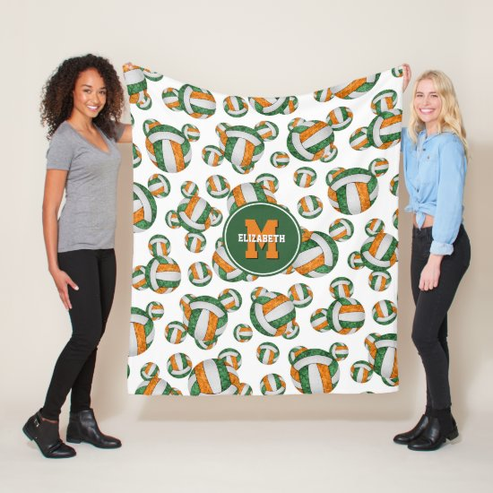 green orange sporty team colors girly volleyball fleece blanket
