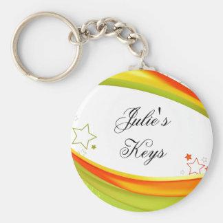 Green & Orange Stars Basic Round Button Keychain