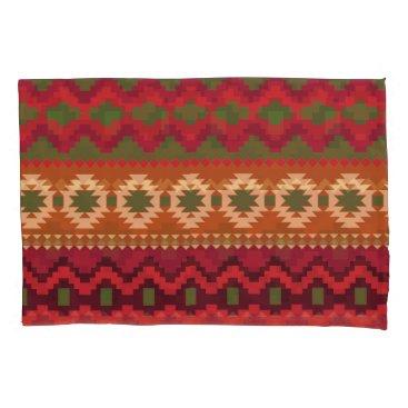 Aztec Themed Green Orange Tan Aztec Pattern Pair Pillowcases