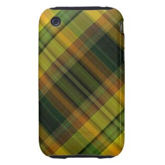 Green orange tartan pattern iPhone 3 tough covers