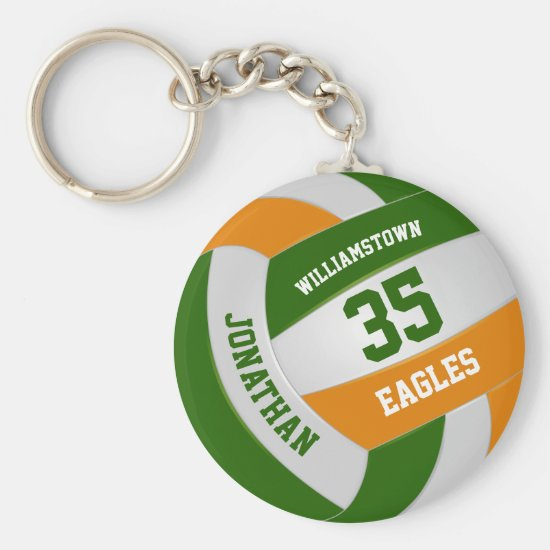 green orange team colors boys girls volleyball keychain