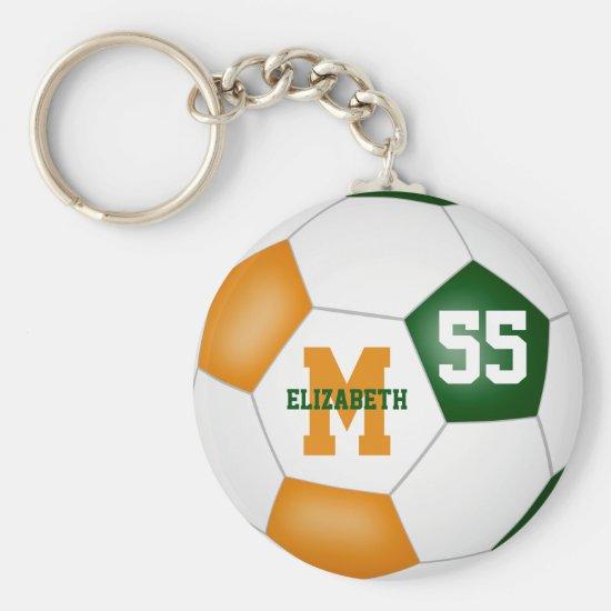 green orange team colors girls boys soccer ball keychain