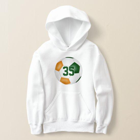 green orange team colors jersey number soccer hoodie