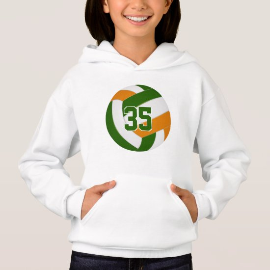 green orange team colors jersey number volleyball hoodie
