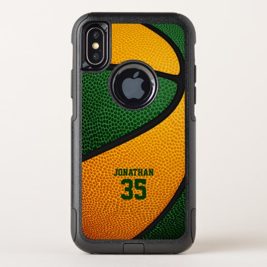 green orange team colors personalized basketball OtterBox commuter iPhone XS case