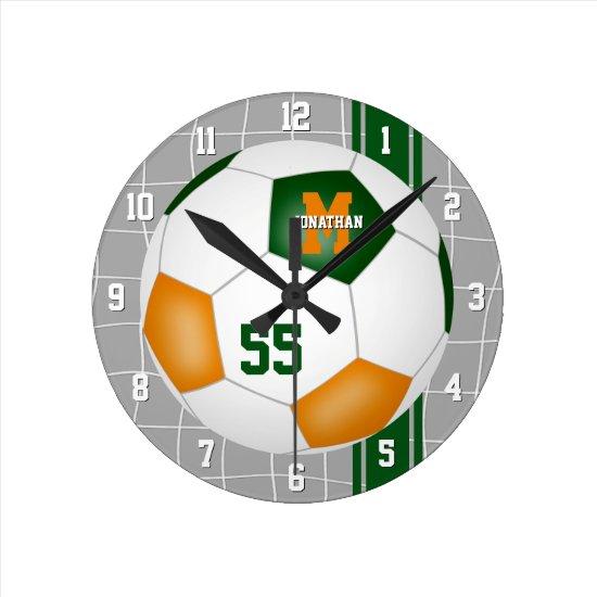 green orange team colors varsity stripes soccer round clock
