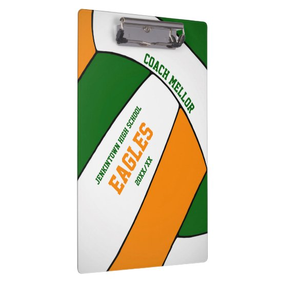 green orange team colors volleyball coach clipboard