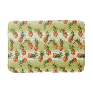 Green Orange Tropical Pineapple Fruit Pattern Bath Mat