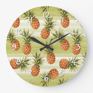 Green Orange Tropical Pineapple Fruit Pattern Large Clock