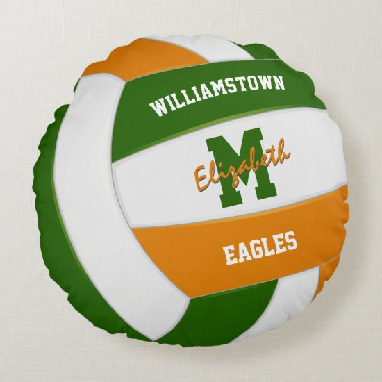 green orange volleyball team colors kids sports round pillow
