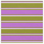 [ Thumbnail: Green, Orchid, and Beige Colored Striped Pattern Fabric ]