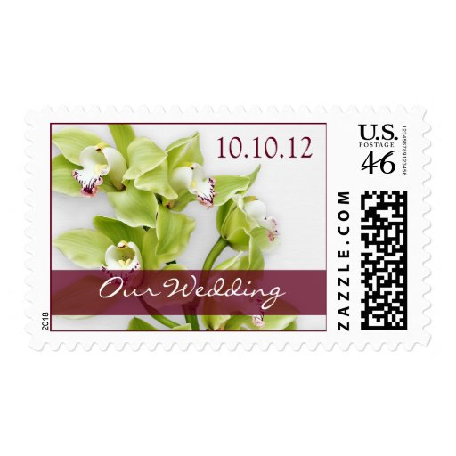 Green Orchid Personalized Wedding Postage