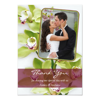 Green Orchid Photo Wedding Thank You Card