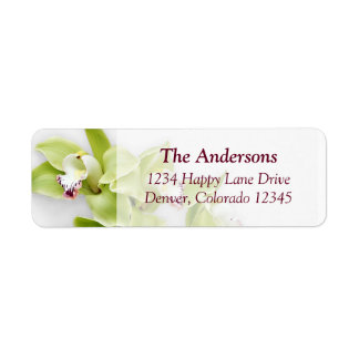 Green Orchid Wedding Return Address Labels