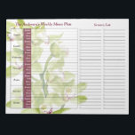 "Green Orchid Weekly Personalized Meal Planner Notepad<br><div class=""desc"">You can personalize the name on this handy burgundy and green Cymbidium orchid floral personalized weekly menu plan or meal planner calendar tear away notepad. Just fill it in each week and then tear it away to get to the next blank week. It includes meal planning for the whole week...</div>"