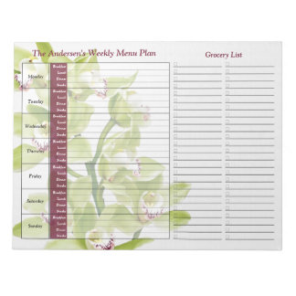 Green Orchid Weekly Personalized Meal Planner Notepad
