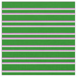[ Thumbnail: Green, Orchid & White Lines Fabric ]