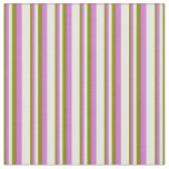 [ Thumbnail: Green, Orchid & White Pattern of Stripes Fabric ]