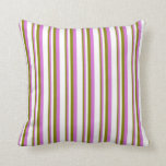 [ Thumbnail: Green, Orchid & White Pattern of Stripes Pillow ]