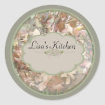 Green Orchids Spice jar labels Classic Round Sticker