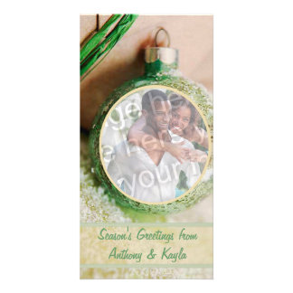 Green Ornament And Snow Photo Holiday Card