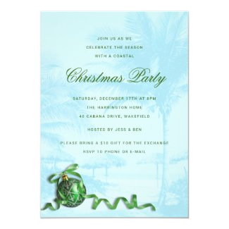 Green Ornament blue Christmas Party Tropical theme Invitation