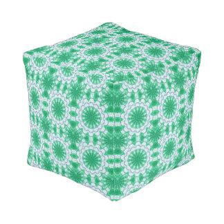 Green Ornament Cube Pouf