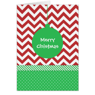 Green Ornament on Red and White Chevron Greeting Card