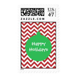 Green Ornament on Red and White Chevron Postage